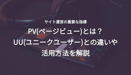 PV(ページビュー)とは?UU(ユニークユーザー)との違いや活用方法を解説